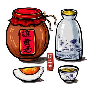 原创一坛雄黄酒和酒壶