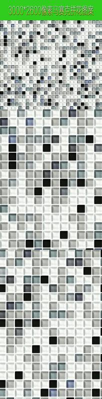 黑白马赛克拼花图案素材贴图
