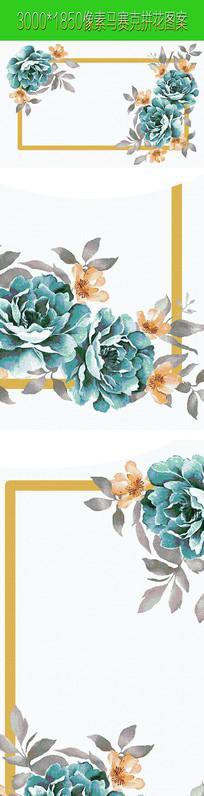 蓝色花朵马赛克拼花