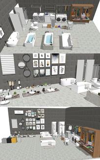 现代浴缸台盆洗衣机衣柜