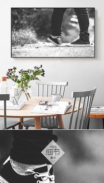 黑白北欧情侣风景唯美古典装饰画