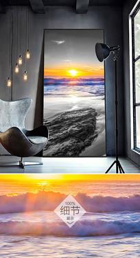 黑白日出大海抽象北欧简约风景装饰画