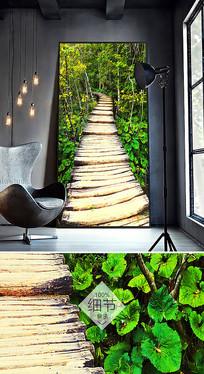 简约北欧抽象绿色小桥油画室内装饰画