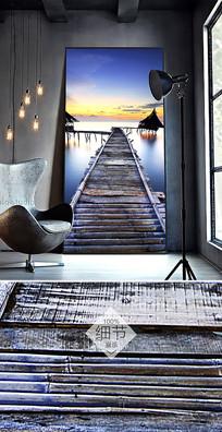 简约北欧抽象小桥大海风景油画装饰画
