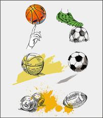 矢量手绘球类图案设计