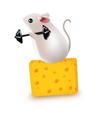 原创可爱奶酪上举扛铃锻炼的可爱鼠