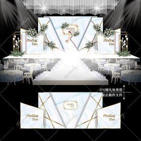白蓝色主题婚礼小清新婚庆背景板