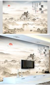 中国风古风上善若水山水壁画墙纸