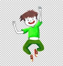 儿童学生欢呼跳跃PNG