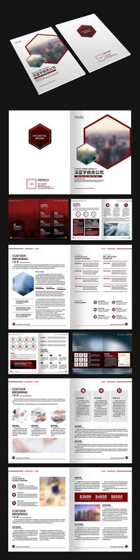 六边形深红色商务画册