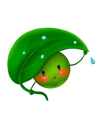原创清明传统食物绿色萌青团绿豆