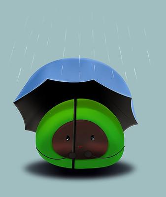 原创清明传统食物雨伞青团