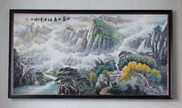 纯手绘水墨国画山高水长艺术壁画