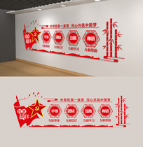 民族团结文化墙展板大团结民族梦红色