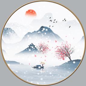 手绘雪景室内装饰画