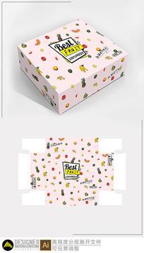 粉色水果包装展开图设计