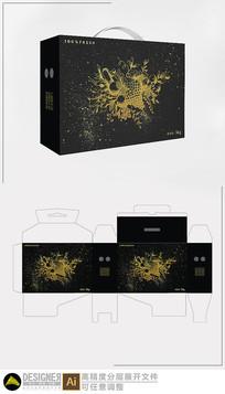 黑色手绘水果包装设计展开图