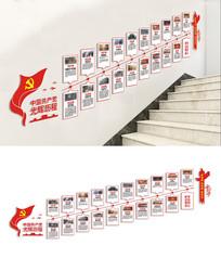 楼梯党的光辉历程文化墙