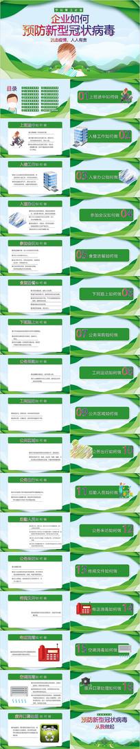 企业如何预防新型冠状病毒肺炎PPT宣传