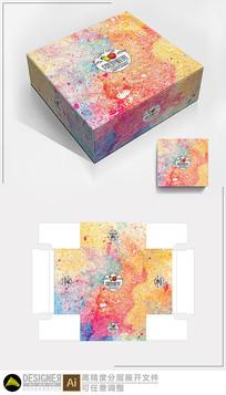 手绘多彩水果包装设计展开图