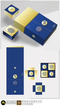 撞色月饼礼盒设计展开图