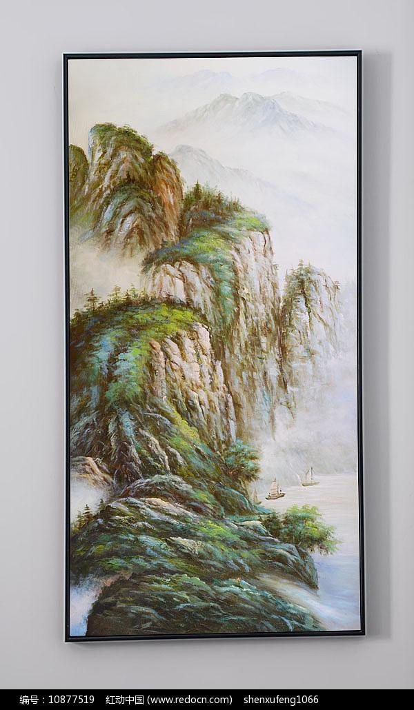 超大幅高画质竖幅油画玄关青山绿水图片