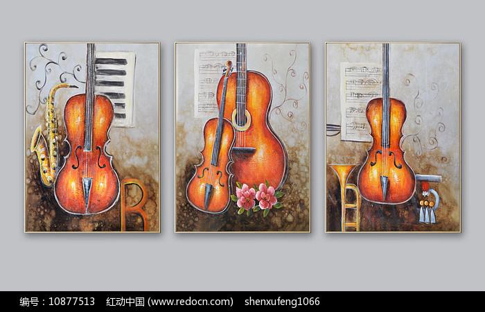 纯手绘唯美乐器静物装饰组合油画图片