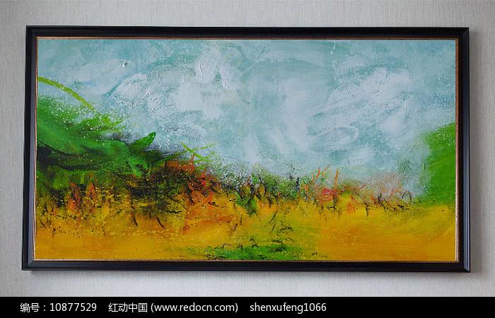 纯手绘现代抽象立体油画装饰画(横幅)图片