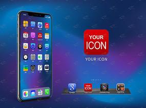 高清手机应用APP图标展示样机UI样机