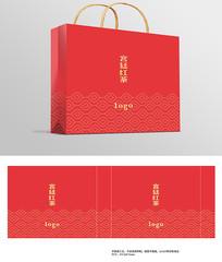 古风红色叶片花纹茶叶手提袋包装设计