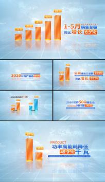 简洁科技企业数据图表字幕柱状图AE模板