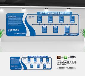 简约蓝色企业历程文化墙设计