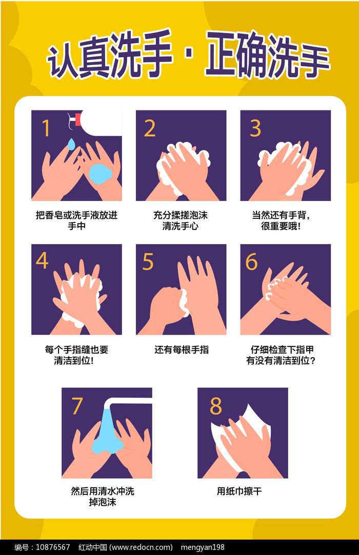 认真洗手校园幼儿园社区通用海报图片