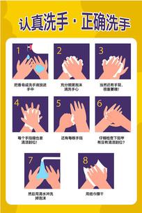 认真洗手校园幼儿园社区通用海报