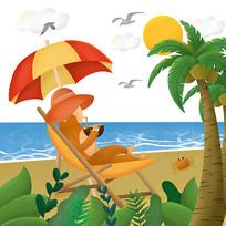 原创海边度假插画