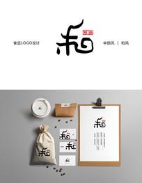 餐饮美食食品旗舰店中国风和风标志设计