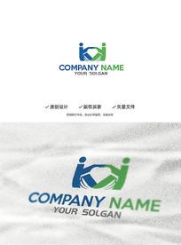 创意爱心翅膀书本人物造型企业标志