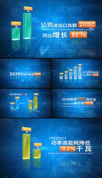 蓝色科技企业数据图表字幕柱状图AE模板