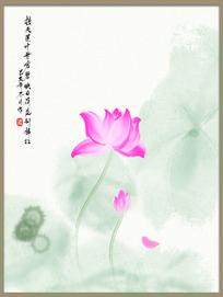 中国风古风手绘水墨淡彩毛笔荷花装饰画