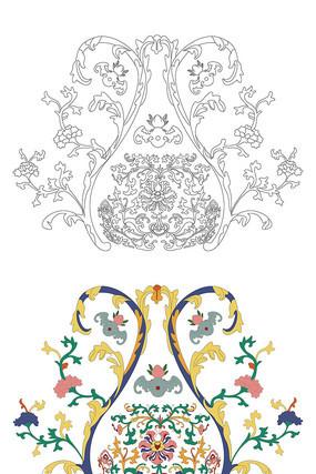 中国传统纹样雕刻古典花卉