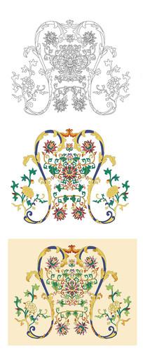 中国传统纹样古风花卉图案