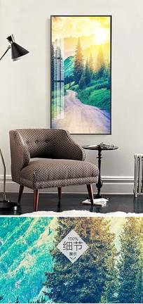 北欧简约抽象风景客厅无框画装饰画