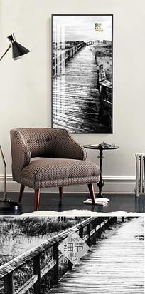 黑白北欧简约抽象风景客厅无框画装饰画