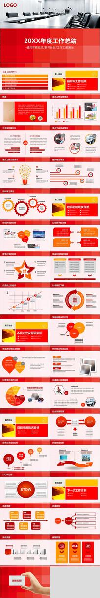 红色大气商务年度工作总结汇报通用PPT