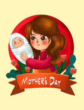 原创母亲节怀抱婴儿的母亲