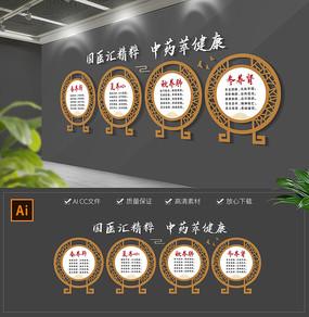 中式古典中医养生标语医馆药店文化墙