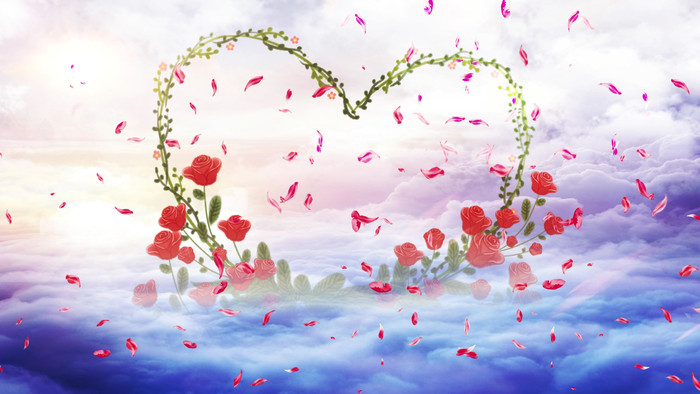 4K梦幻唯美天空鲜花拱门婚礼背景视频模板