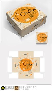 橙子水果包装展开图设计