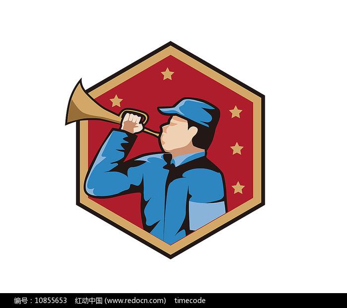 吹号的革命战士图标图片