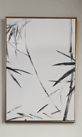 纯手绘意境中式油画竹艺术玄关装饰画